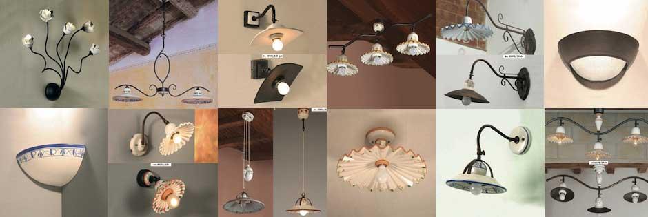 plafoniere e lampadari classici in ferro battuto e ceramica Luxart Torino
