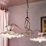 lampadario ferro battuto e ceramica di Ferroluce